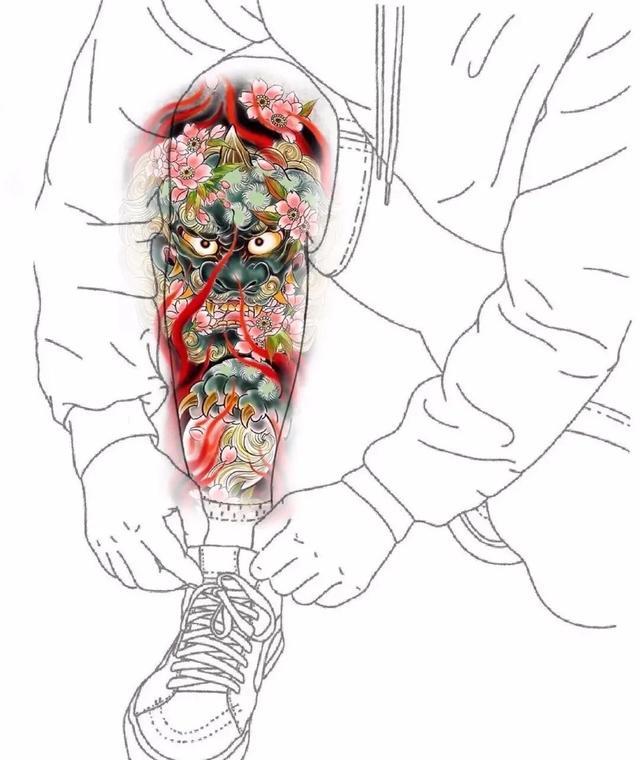 小腿纹身图案男潮