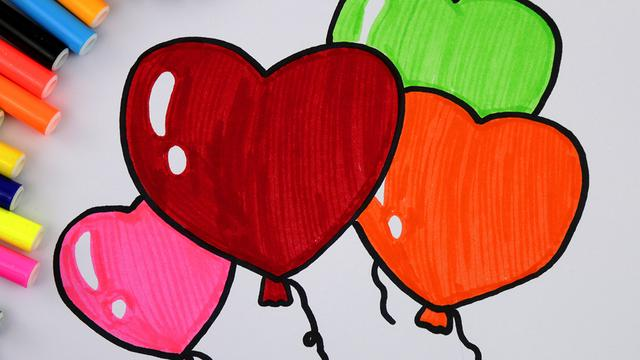 彩色氣球飛上天簡筆畫
