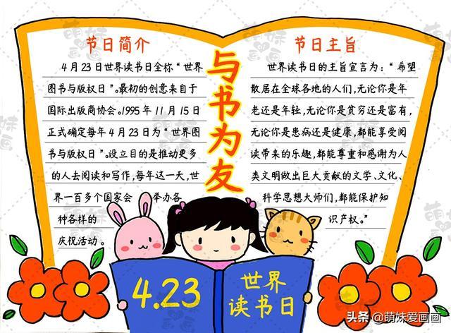 4.23世界读书日主题绘画,简单又漂亮读书手抄报模板,收藏备用