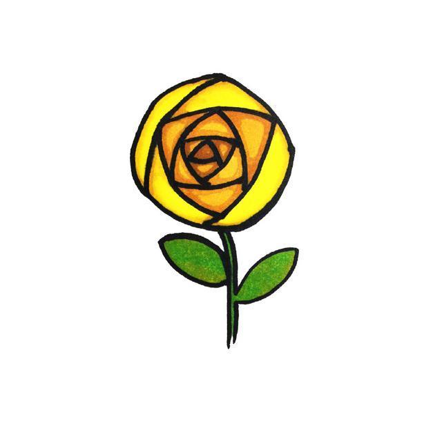 玫瑰花简笔画步骤
