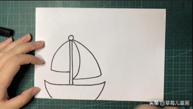 船简笔画步骤帆船