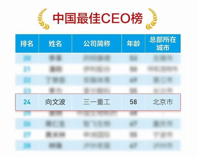 三一重工向文波当选中国最佳CEO