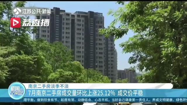 淡季不淡!7月南京二手房成交量环比上涨25.12% 成交价平稳