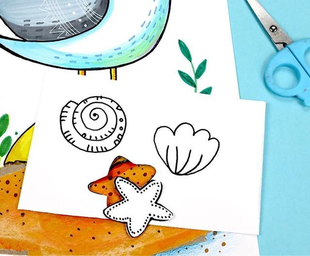 美丽的沙滩儿童画2幅_苗苗简笔画