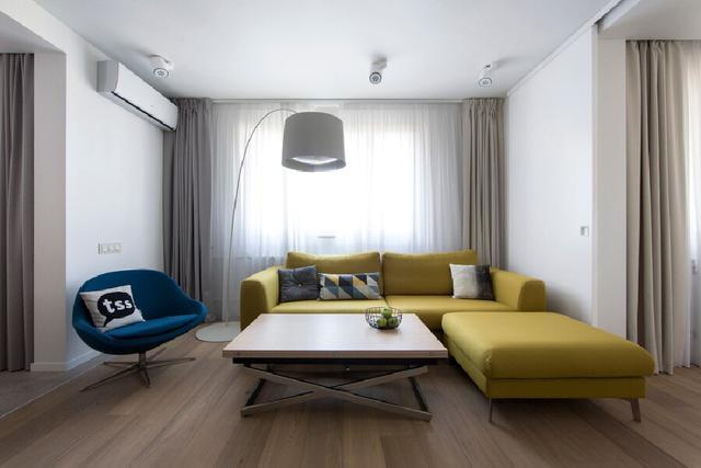 现代简约风小户型房子装修,那一抹亮黄色,一进门就觉得太美了