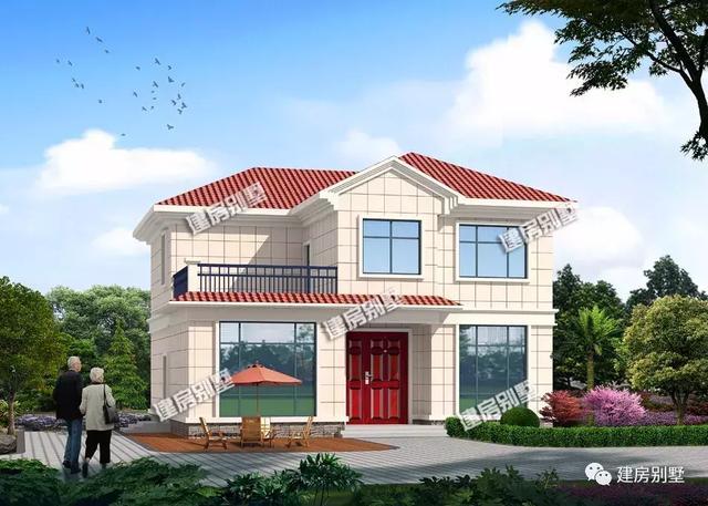 带露台的两层自建房,20多万建栋别墅,就能在村里风光好久