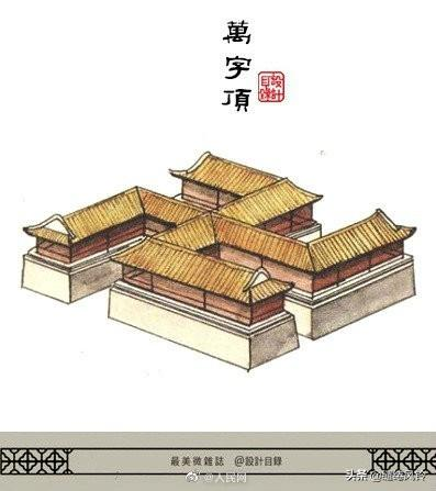 古代建筑屋顶简笔画
