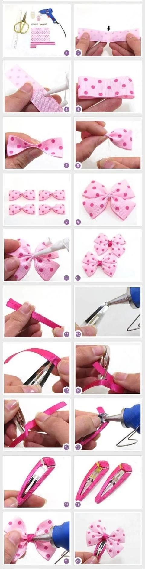 做几个最基础的蝴蝶结,再加上小花或珠子装饰下,瞬间美爆了