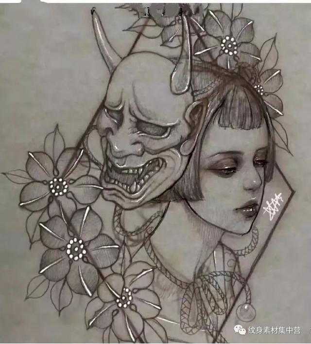 ...格的彩色面具纹身图案 - 国内作品纹身图案大全 - 纹身帮图库