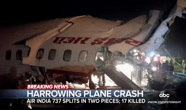 印度航班坠毁18人丧生,救出的乘客里竟然有两人感染新冠肺炎