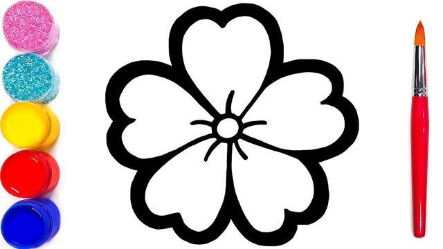 花朵简笔画黑白