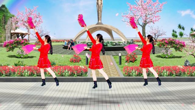 扇子舞《桃花姑娘》歌曲优美好听,舞蹈简单时尚,... _网易视频