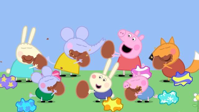 小猪佩奇:宝宝们找到了彩蛋,原来是巧克力,大家都给吃了