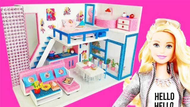 手工DIY,教你给芭比娃娃做圣诞节迷你房子,做法简单