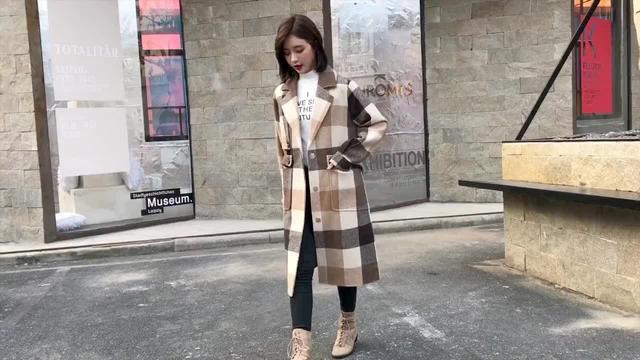 反季咖啡色格子羊毛外套韩国韩版中长款妮子呢子焦糖色毛呢大衣女