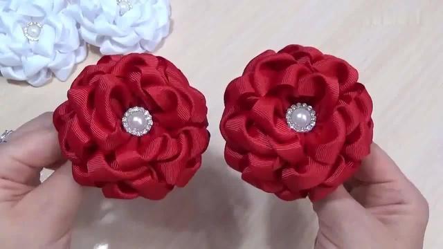 丝带花制作图解玫瑰花