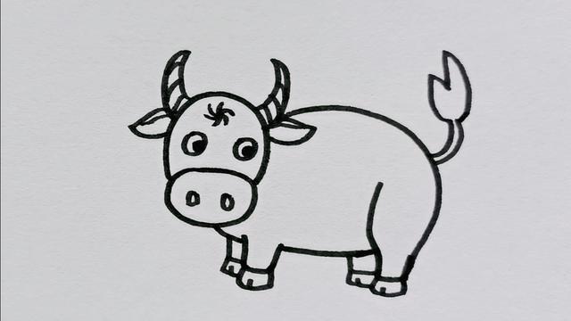 牛简笔画彩色