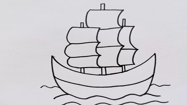 船简笔画卡通帆船