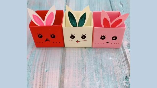 一张纸教你制作萌萌哒小兔子收纳盒折纸,做法简单同学们都抢着要
