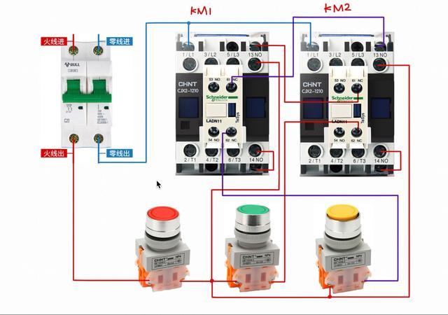 交流接触器接线图 单相电机正反转,交流接触器互锁