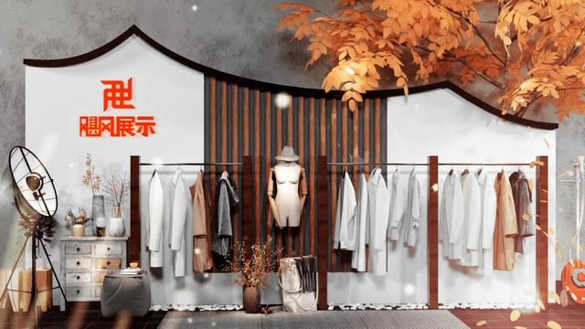 壁挂式衣架服装店