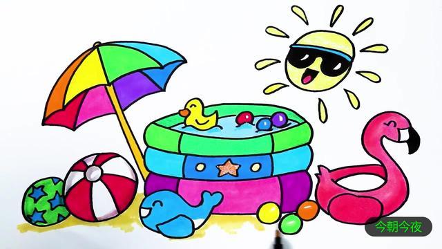 夏天沙滩风景简笔画 沙滩儿童画图片大全_巧巧简笔画