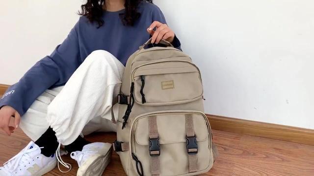 ...流运动行李包多功能旅游包 卡其色(帆布大容量设计) 双肩包