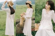 连衣裙这样穿太漂亮了,初秋温暖系穿搭,时髦又有女人味