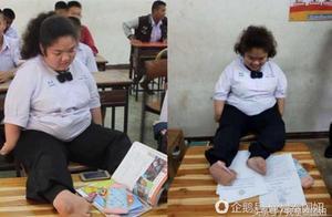 残疾女孩只能用脚写字,参加书法比赛获奖