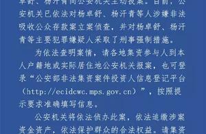 卓达集团实控人杨卓舒等投案,涉嫌非法吸收公众存款