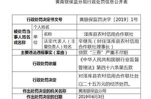 """贷款""""三查""""严重不尽职 青海泽库县农村信用合作联社被罚25万"""
