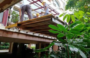 南宁一业主私自搭建花园露台,结果被拆了