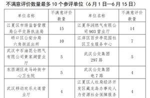 """武汉通报6月前半月""""双评议""""结果,这10个单位差评最多"""