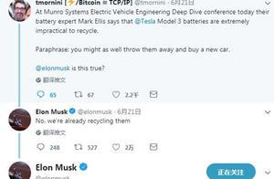 网友质疑特斯拉电动汽车电池不利于回收 马斯克回应