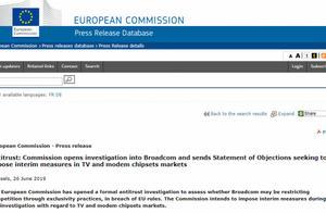 欧盟对博通展开反垄断调查:涉嫌强迫客户购买芯片,将责令停止