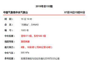 2019台风最新消息:5号台风丹娜丝生成19日登陆广东!台风丹娜丝实时路径图最新