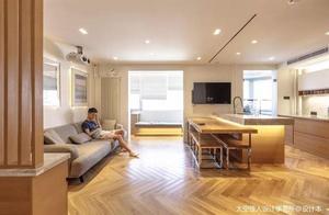 118㎡旧房爆改成时尚简约家,客厅和阳台打通,还有超强榻榻米!
