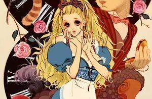 爱丽丝梦游仙境彩铅画