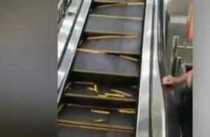 惊悚瞬间曝光!商场电梯瞬间崩裂 两乘梯人快速逃离