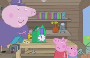 小猪佩奇:佩奇抱来一个坏了的钟,猪爷爷查找资料,把钟修好了