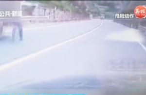 大货车失控狂奔,小伙不断鸣笛提醒无人理,定睛一看车上没人?
