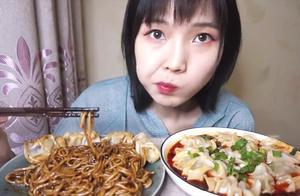 暴风吸入一份韩式炸酱面,红油酸汤水饺,舒服,嗝-炸酱面 饺子