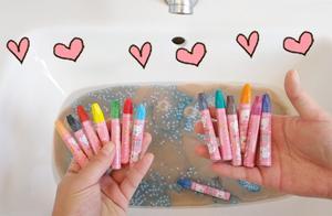 挑战水池洗泥!24色油画棒洗巨无霸起泡胶,无硼砂,洗出一池烟花