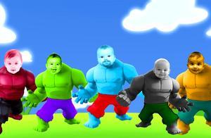 给绿巨人超人金刚侠找相同颜色的面具娃娃,唱好听的手指英语儿歌