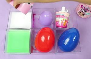 益智玩具学颜色,彩色颜料奇趣蛋转换孩子们的惊喜玩具