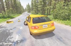 BeamNG:小路疯狂连续超车的车祸,刺激!
