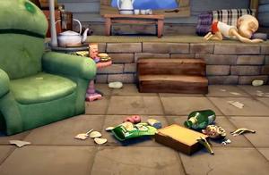 熊出没:强哥失业了,没了工作习惯也变了,屋里全是垃圾也不管