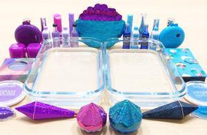 把紫色和蓝色过期化妆品混在水晶泥里,无硼砂,你更喜欢哪种?
