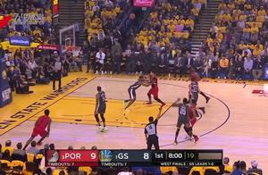 "NBA季后赛:""水花""合砍61分 勇士逆转开拓者"