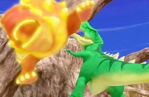 心奇爆龙战车之驯龙斗士:铁甲龙实力太强,一招就把霸王龙揍飞了
